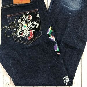 Ed Hardy Mens distressed  Embroidered Jeans Sz 36